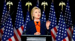 Hillary Clinton delivers a speech on national security in San Diego, California