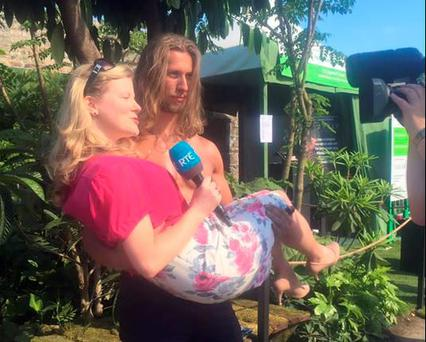 Nuala Carey is swept off her feet by Tarzan at Bloom. PIC: Nuala Carey Twitter