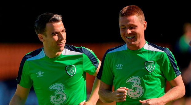 2 June 2016; Seamus Coleman and James McCarthy of Republic of Ireland during squad training in Fota Island Resort, Fota Island, Cork. Photo by David Maher/Sportsfile