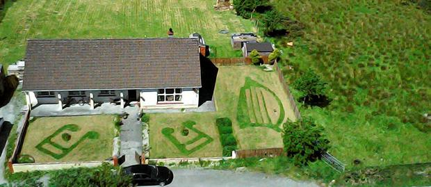David Ellis from Westport created the musical pattern on the grass to convince his girlfriend that they needed a new drone