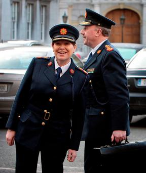 Then Garda Commissioner Martin Callinan and then Deputy Commissioner Noírín O'Sullivan arriving at Leinster House for a Public Accounts Committee meeting in 2012 Photo: Tom Burke
