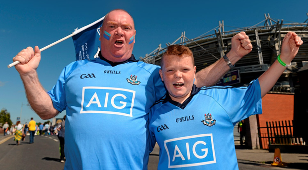 Dublin supporters Paul Morgan Snr with Paul Jnr – Dublin fans will be travelling to Kilkenny today (Picture: Sportsfile)