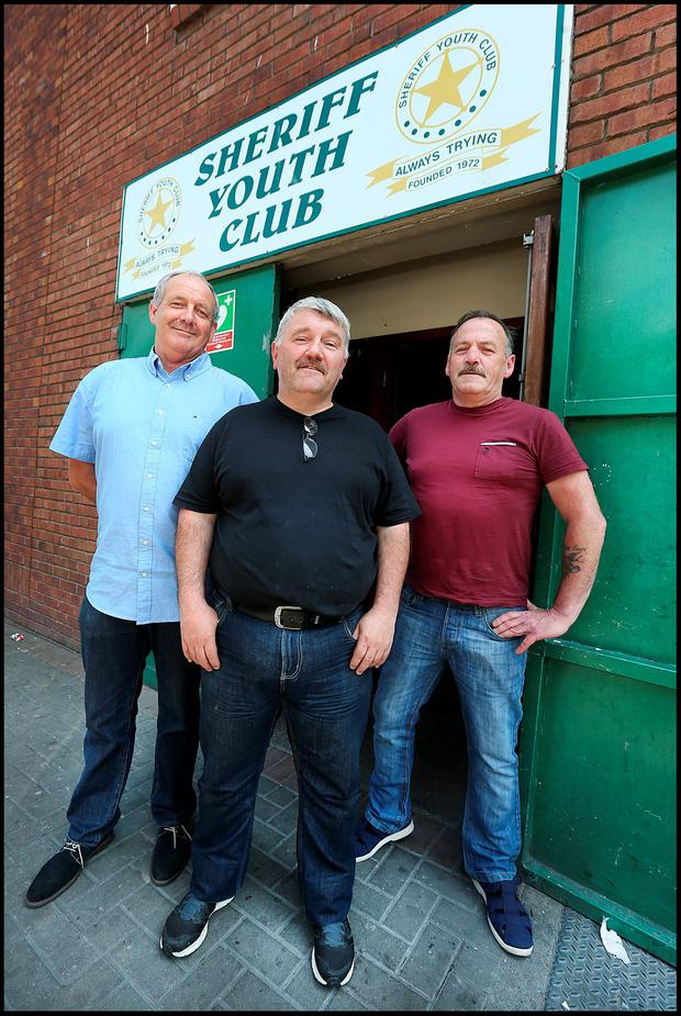 Eugene 'Hugo' Richardson (PRO), Paul Ryan (schoolboy secretary) and Johnny Scurry (transport manager) outside Sheriff Youth Club Photo: Steve Humphreys