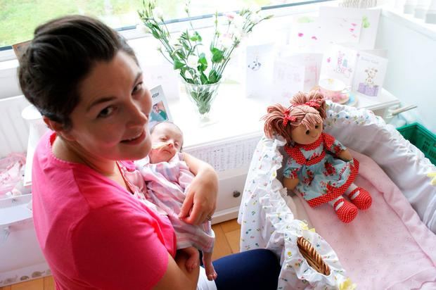 Clair Gray with daughter Matilda and Matilda doll