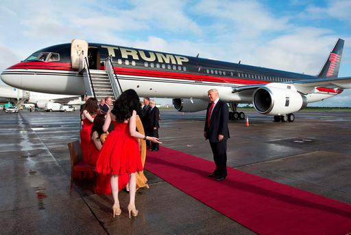 Donald Trump arrives at Shannon Airport on his visit to Ireland in 2014, when he had a look at work at the Doonbeg golf course. Photo: Sean Curtin