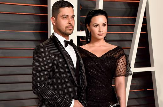 Wilmer Valderrama and Demi Lovato at the 2016 Vanity Fair Oscars party