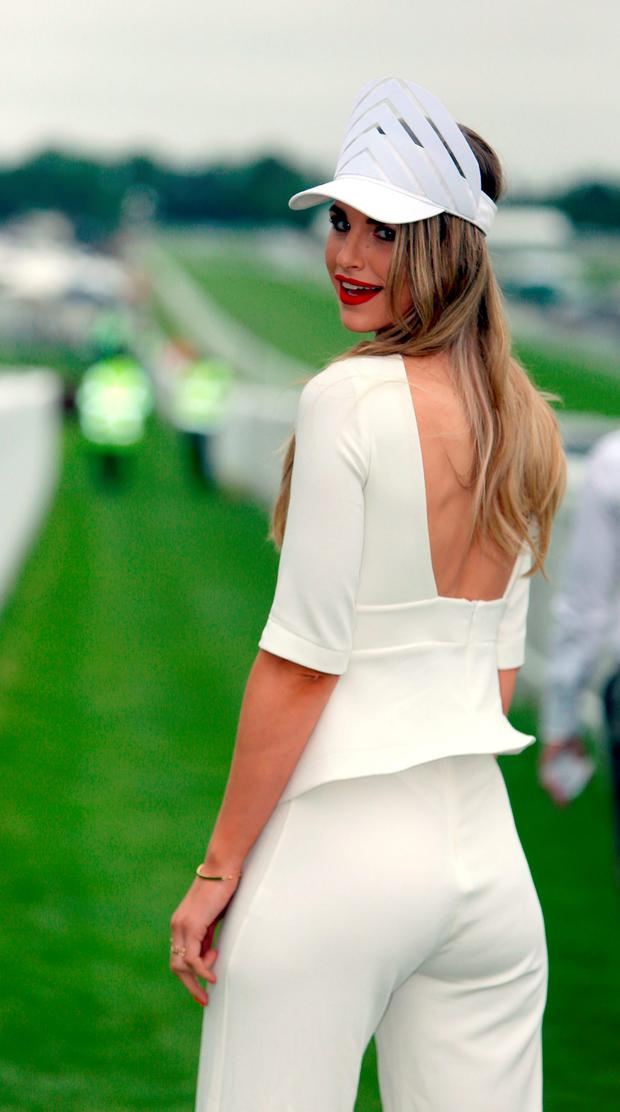 Model Vogue Williams on Ladies Day during the 2016 Investec Epsom Derby Festival at Epsom Racecourse, Epsom. Picture: John Walton/PA Wire