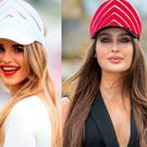 Vogue Williams wearing a Martha Lynn visor at Epsom Derby (left) and Roz Purcell wearing the same headpiece at Punchestown Racecourse (right)