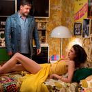 Russell Crow and Margaret Qualley in The Nice Guys.