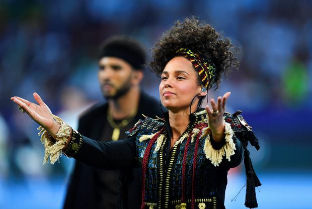 Alicia Keys performs during Champions League final opening ceremony during the UEFA Champions League Final match between Real Madrid and Club Atletico de Madrid at Stadio Giuseppe Meazza on May 28, 2016 in Milan, Italy. (Photo by Shaun Botterill/Getty Images)