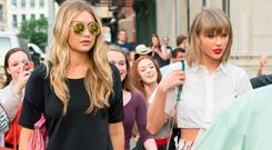 Model Gigi Hadid (L) and musician Taylor Swift seen on the streets of Manhattan on May 29, 2015 in New York City. (Photo by Michael Stewart/GC Images)