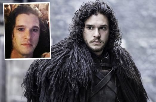 Kit Harrington as Jon Snow in Game of Thrones and inset, he's pictured without his famous beard