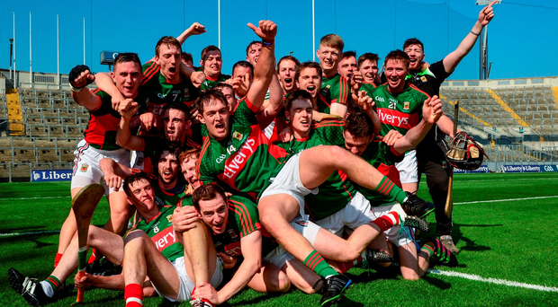 Kenny Feeney, centre, and his Mayo team-mates celebrate after the Nicky Rackard Cup Final between Armagh and Mayo