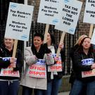DISSENT: Civil servants protesting against the pension levy in 2009 after the economy crashed. Photo: Damien Eagers