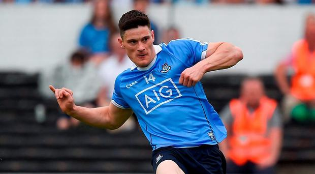 Man of the Match Diarmuid Connolly scores Dublin's second goal against Laois in Nowlan Park last night. Photo: Ray McManus/Sportsfile