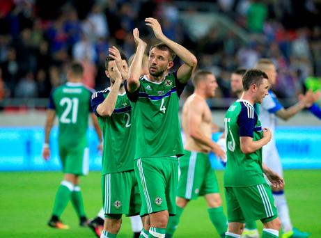 Northern Ireland's Gareth McAuley thanks the fans after the final whistle