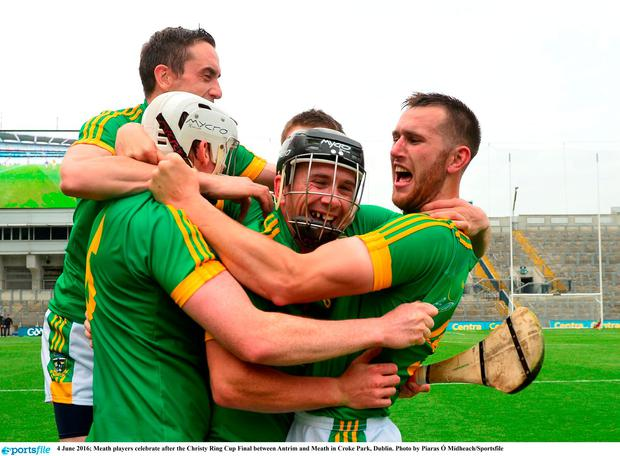 Meath players celebrate after the Christy Ring Cup Final between Antrim and Meath
