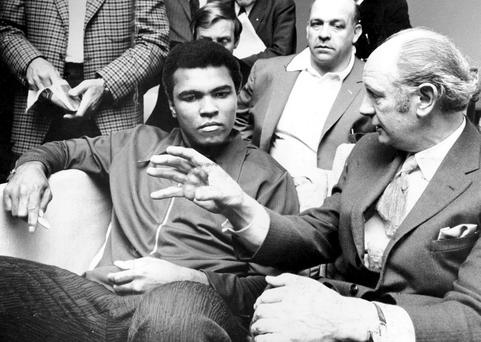 SUMMIT MEETING: Muhammad Ali with Taoiseach Jack Lynch on Ali's visit to Ireland in 1972