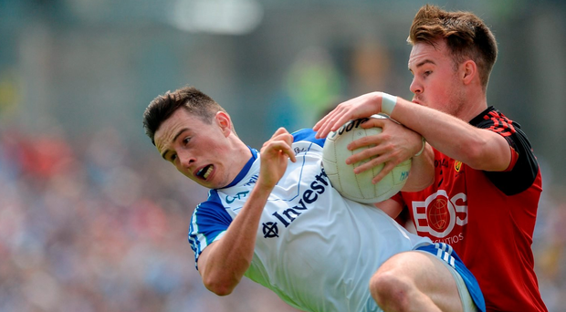 5 June 2016; Shane Carey of Monaghan in action against Darragh O'Hanlon of Down. Picture credit: Dáire Brennan / SPORTSFILE Photo by Daire Brennan/Sportsfile