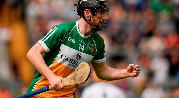 5 June 2016; James Mulrooney of Offaly celebrates scoring his side's first goal in the Leinster GAA Hurling Senior Championship Quarter-Final between Offaly and Laois in O'Connor Park, Tullamore, Co. Offaly. Photo by Sam Barnes/Sportsfile