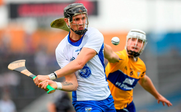 5 June 2016; Maurice Shanahan of Waterford in action against Pat O'Connor of Clare during the Munster GAA Hurling Senior Championship Semi-Final match between Waterford and Clare at Semple Stadium in Thurles, Co. Tipperary. Photo by Stephen McCarthy/Sportsfile
