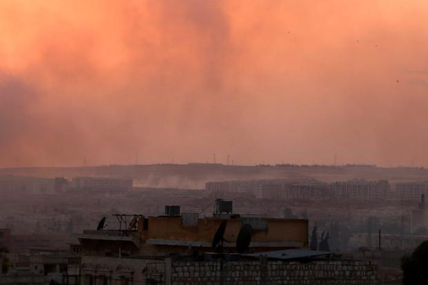 Smoke rises after airstrikes on Aleppo's rebel held neighbourhoods, Syria June 2, 2016. REUTERS/Abdalrhman Ismail