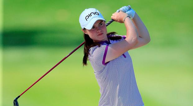 Ireland's Leona Maguire plays her second shot at the par 5. Photo: David Cannon/Getty Images