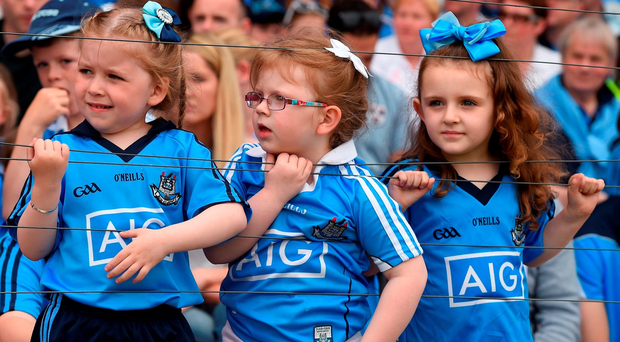 4 June 2016; Dublin supporters Mollie Og Langan, age 5, her cousin Lilie Langan, age 4, and Ella O'Dowd, age 4, all from the Naomh Fionnbarra Club, before the Leinster SFC quarter-final match in Nowlan Park. Photo: Sportsfile