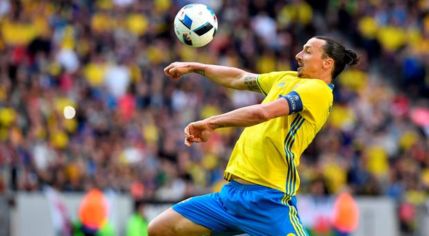 Zlatan Ibrahimovic in action against Wales . Photo: Reuters