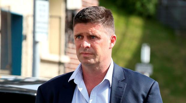 Niall Quinn pictured outside Flanagan's Funeral home in Dundrum. Photo: Frank McGrath