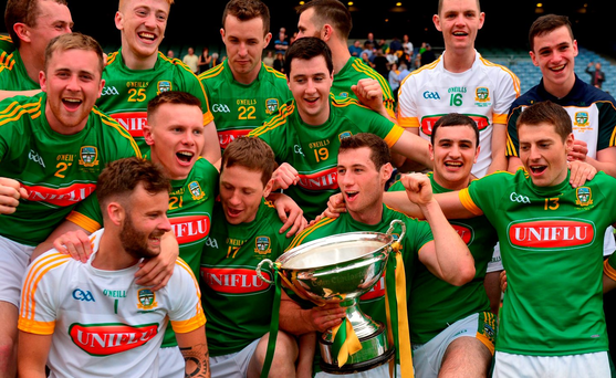 James Toher and his Meath team-mates celebrate with the cup after the Christy Ring final whether they get to hold onto the trophy remains to be seen. Photo: Sportsfile