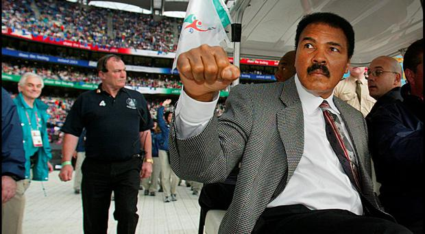Muhammad Ali arriving at the opening ceremony of the 2003 Special Olympics World Summer Games at Croke Park Photo: Steve Humphreys