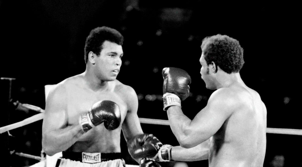 Muhammad Ali and George Foreman face one another during 'The Rumble in the Jungle' Photo: AFP/Getty Images