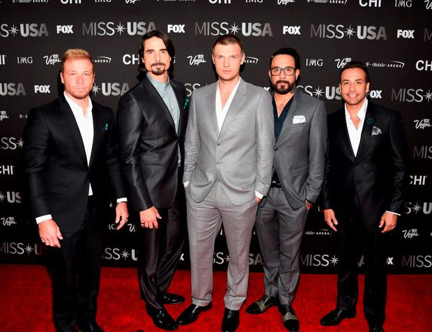(L-R) Singers Brian Littrell, Kevin Richardson, Nick Carter, A.J. McLean and Howie Dorough of the Backstreet Boys attend the 2016 Miss USA pageant at T-Mobile Arena on June 5, 2016 in Las Vegas, Nevada. (Photo by Ethan Miller/Getty Images)