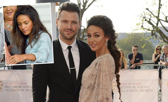 Michelle Keegan and Mark Wright and inset, is Michelle cheering him on at Soccer Aid 2016
