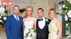 (left to right) Shayne Ward, Catherine Tyldesley, Tom Pitfield and Jane Danson as they appear in this week's edition of Hello! Magazine. Picture: Hello! Magazine/PA Wire