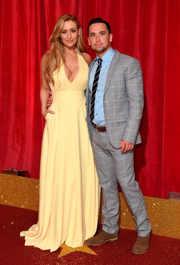 Catherine Tyldesley and Tom Pitford attend the British Soap Awards at Manchester Palace Theatre on May 16, 2015 in Manchester, England. (Photo by Karwai Tang/WireImage)