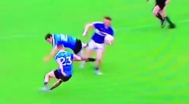 Bernard Brogan hit the turf after a massive Kevin Meaney hit