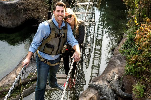 Kate Upton and Detroit Tigers pitcher Justin Verlander are all smiles during a safari adventure on Wild Africa Trek February 3, 2015 at Disney's Animal Kingdom theme park
