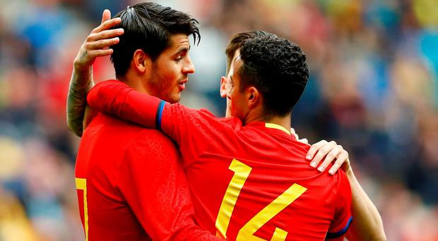 Spain's Alvaro Morata (left) and Thiago Alcantara
