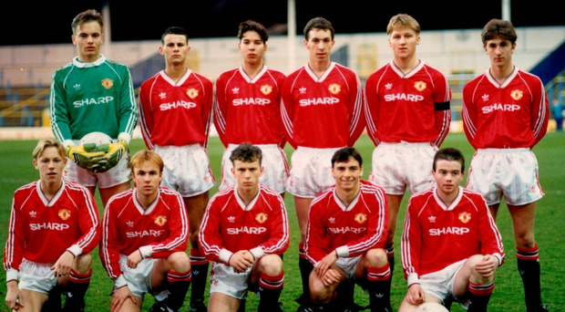Adrian Doherty (front row, far right) in the the Manchester United team before an FA Youth Cup semi-final in 1990 along with team-mates (back row, l-r) Mark Bosnich, Ryan Giggs and Darren Ferguson