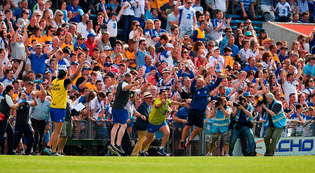 Waterford manager Derek McGrath jumps for joy at the final whistle of Sunday's Munster SHC clash against Clare. Photo: Sportsfile