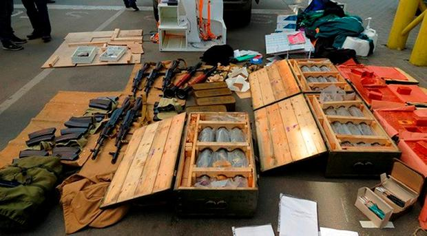 Some of the weapons the Frenchman had amassed. Photo: AP