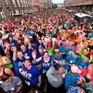 A general view of participants in the 2016 VHI Women's Mini Marathon which saw 35,000 participants take to the streets of Dublin to run, walk and jog the 10km route, raising much needed funds for hundreds of charities around the country. Photo by Paul Mohan/Sportsfile