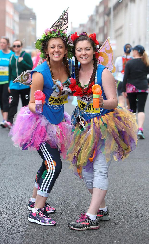 Clodagh Smith, left and Lauren Walsh from Clondalkin at the start of the mini-marathon. Picture credit; Damien Eagers