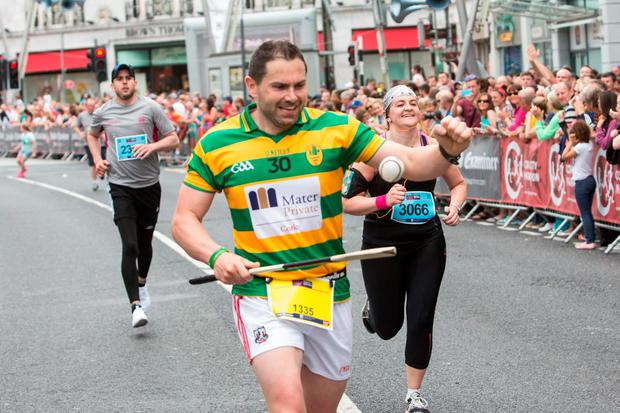 Damien Coleman, who broke the world record for running a marathon with a hurl and sliotar (4h28m) Pic Darragh Kane