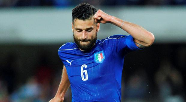 Italy's Antonio Candreva celebrates after scoring against Finland. REUTERS/Giorgio Perottino
