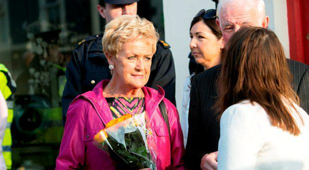 Ann McCabe pictured outside the Garda Station in Adare Co Limerick at the 20th anniversary of the Death of Det Jerry McCabe