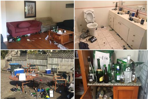 The scene of a 120-person leaving party in Auckland – before a visit by Morning After Maids. Photograph: Catherine Ashurst, Rebecca Foley