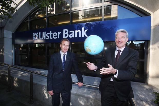 Eddie Cullen, Managing Director of Ulster Bank's Commercial Banking Division and Simon McKeever, Chief Executive, Irish Exporters Association launch Ulster Bank's Business Roadshow series ahead of the first event in Cork on Thursday 9th June 2016. The support and networking events will provide help for what matters to companies planning for 2016 and beyond. Photograph: Leon Farrell / Photocall Ireland